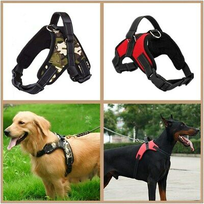 Pet Dog Puppy Harness Adjustable Reflective Soft Walking Padded Vest Non Pull UK