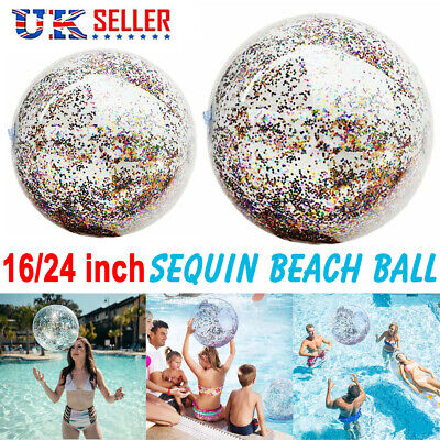 Inflatable Glitter Beach Ball Confetti Swim Pool Water Adults Kids Play Games UK