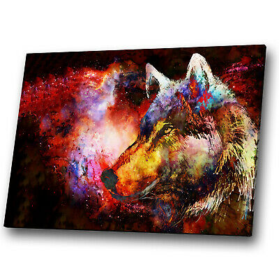 Animal Canvas Print Framed Kitchen Wall Art Picture Wolf Abstract Red Blue