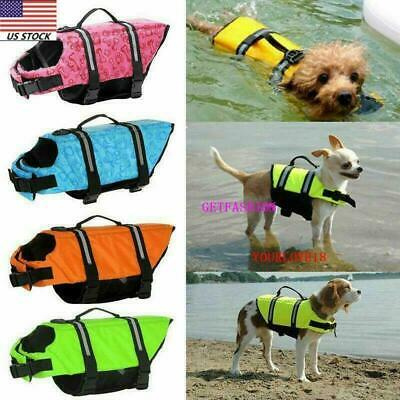 USA Dog Life Jacket Swimming Float Vest Adjustable Reflective  Buoyancy Aid Pet