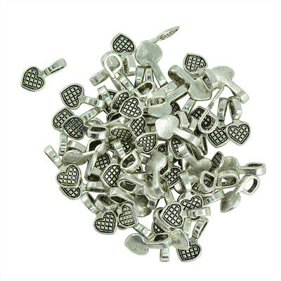 100 Pcs Heart Shape Tibetan Silver Glue-on Flat Pad Bails Settings Pendants