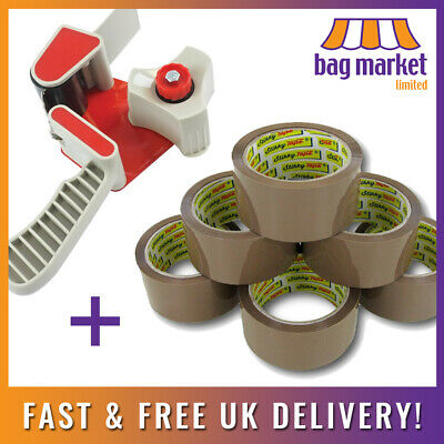 Tape Gun Dispenser + 6 Rolls Strong Stikky® Brown Parcel/Packing Tape 48mm x 66m