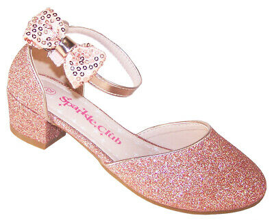 Girls rose pink gold sparkly glitter low heeled party wedding shoes bridesmaid