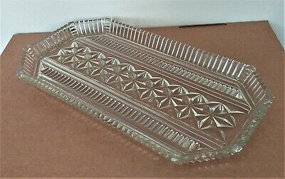 Beautiful Antique Large Heavy Art Deco Clear Cut Glass Serving Tray