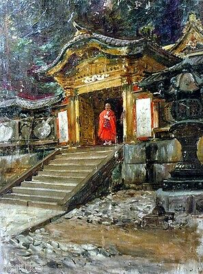 19thC PAINTING BUDDHIST PRIEST & TEMPLE ON WOOD SIGNED TWICE BY ROBERT BLUM
