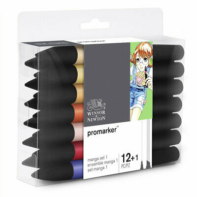 Winsor & Newton ProMarker Twin Tip Alcohol Marker 12+1 MANGA SET #1 in Box