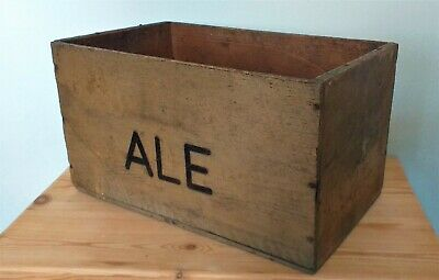 Large Antique Solid Pine Wood Box Crate With Ale On Sides -  Beer Crate?