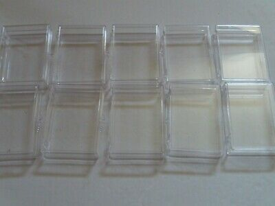 Lot of 10 ~ 50ct Count Card Hinged Clear Plastic Boxes Card Holders Sports Cards
