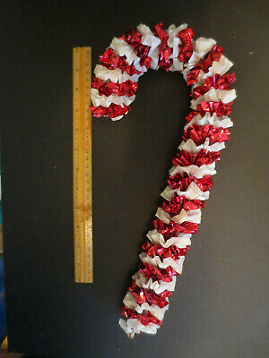 "14"" Mid-Century Christmas Candy Cane Red Metallic Plastic Vtg Door Wall Decor"