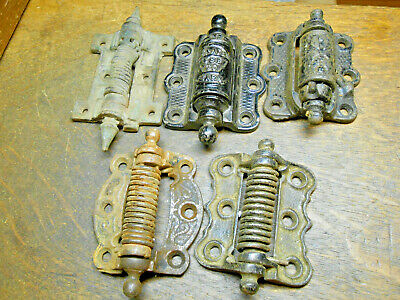 5 Antique Victorian Cast Iron Spring Screen Door Hinge Lot Vintage Door Hardware