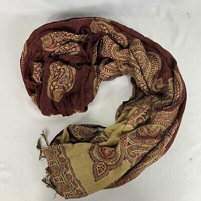f110bc7d065aa Pashmina Scarf Cashmere Silk Wrap Shaw Made In Italy Brown Maroon Burgundy  Gold