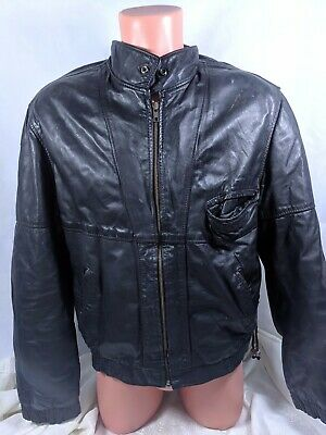 a579a02c5 LEATHER SHOP SEARS VTG Bomber Leather Jacket Size 46 Fur Collar VGC ...