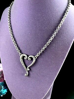 Wonderful Signed Brighton Silver Plated Chain Necklace Heart Scroll Pendant