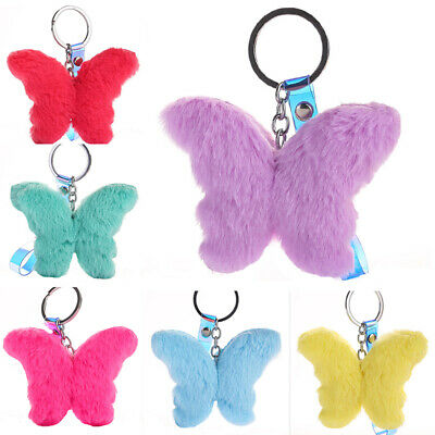 Woman Lady Gift Keychain Plush Butterfly Hairball Pom Car Bag Pendant 12 Colors