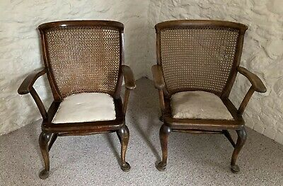 Antique Pair Of Carved Wooden Cane Back Armchair Orkney Chair Style