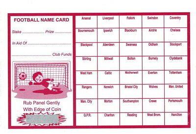 40 Named Football Scratch & Match Card Uk Team Names Fundraising Charity Events