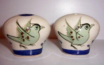 TONALA MEXICO FOLK Art Pottery Floral Salt & Pepper Shaker Set