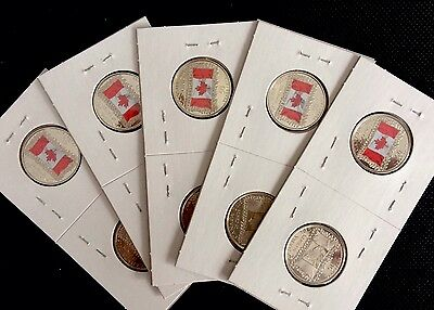 5 Canada Set Of 2 - 2015 - 25cents Coins Canadian Flag ( Color & Non Color)