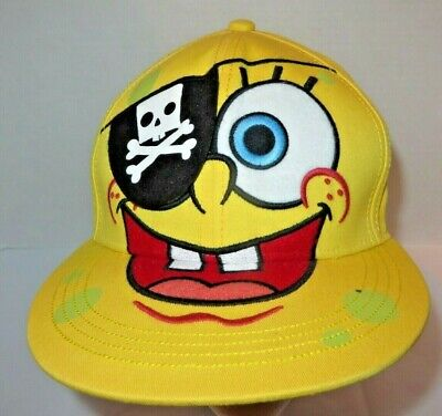 Sponge Bob Nickelodeon Hat Teen Size S/M Yellow Multi Color Pirate Embroidered