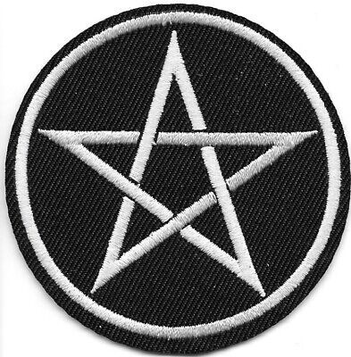 Star Pentagram black white Embroidered Patch Iron-On Sew-On fast US shipping