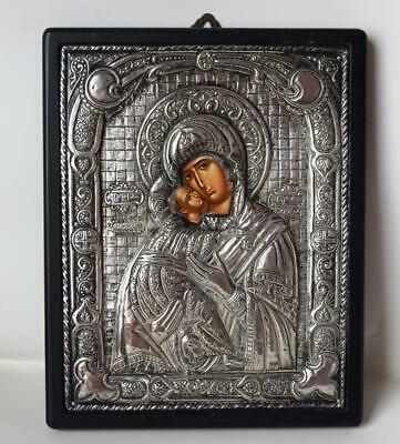 Vtg. Sterling Silver Large VIRGIN MARY & JESUS Fine Quality Russian Greek Icon
