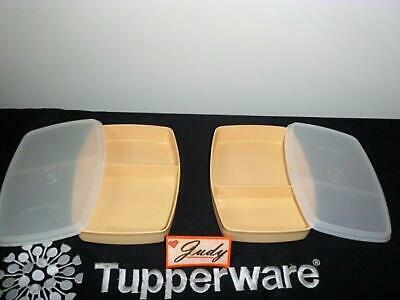 Tupperware 2 Golden Wheat Packette + Seals Divided Lunchables ~Lunch Box ~Picnic