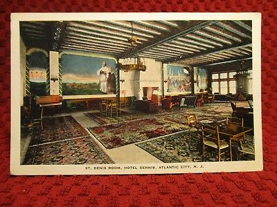 1920'S. Interior Hotel Dennis. Atlantic City, Nj Postcard H5