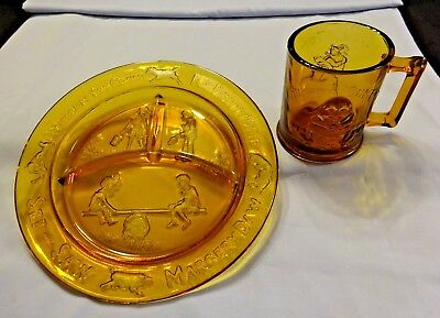 Tiara Amber Glass Mother Goose Nursery Rhyme Child Divided Plate and Cup