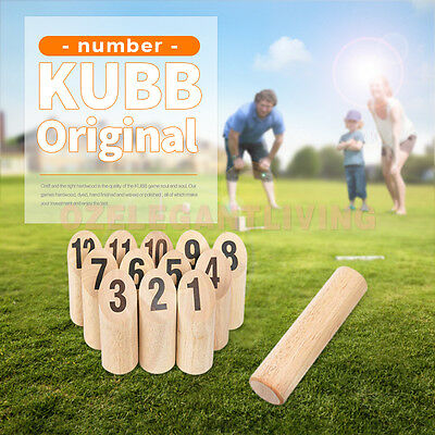 Wooden Number KUBB Original Wooden Viking Outdoor Family Party Game With Bag