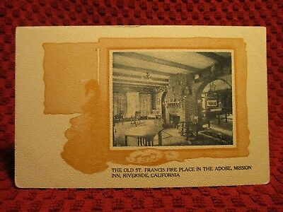 Early 1900'S. St Francis Fireplace, Mission Inn. Riverside Ca Postcard H6