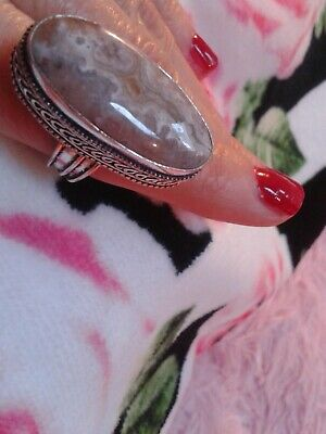 Ring Size 9  Natural Stone  Agate Beige     .. Silver  Handmade