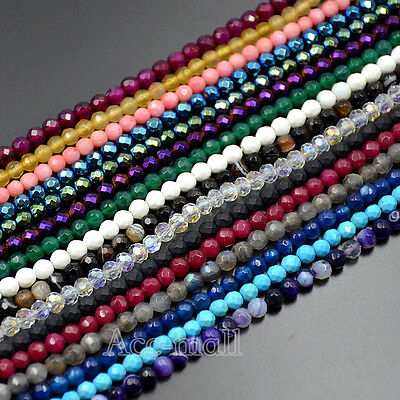 Natural Faceted Gemstones 3.5mm ~ 4mm ~4.5mm Round Beads 15'' ~ 16'' Wholesale