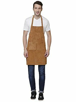 Rustic Town Genuine Leather Grill Work Apron with Tool Pockets ~ Adjustable u...