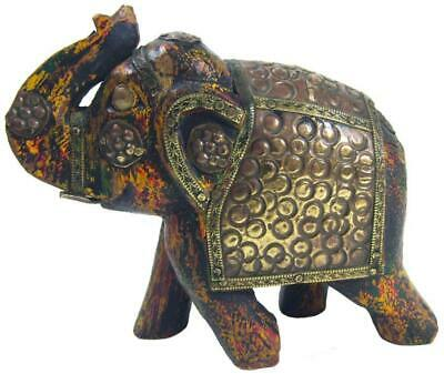 Elephant Painted Wood Brass Copper Saddle 90's Indian
