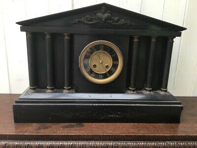 Large Antique Slate Mantel Clock