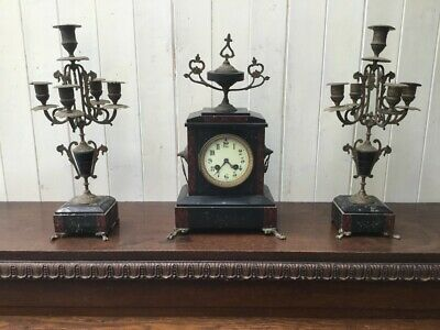 Antique Slate Mantel Clock Garniture
