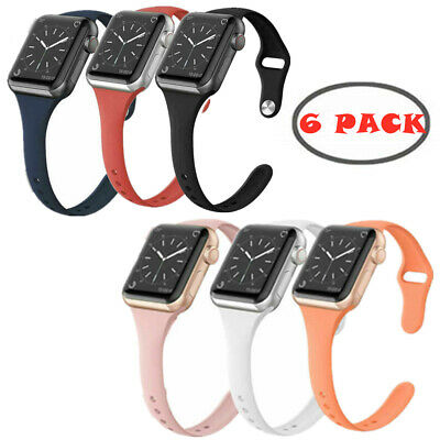 6 Pack Band for Apple Watch 38/42/40/44mm Soft Silicone Sport Strap Replacement