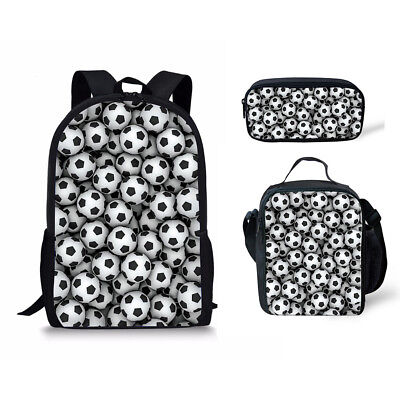 College Teens Sport Style Backpack School 3pcs Bag Thermal Lunch Bag Pen Case