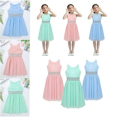 Kid Chiffon Flower Girl Dress Princess Pageant Wedding Bridesmaid Prom Ball Gown