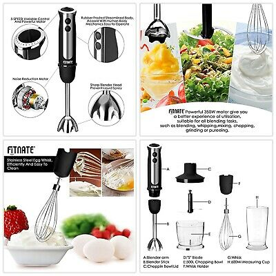 High Quality 4 in 1 Immersion Hand Blender FITNATE Stick Mixer 5 Speed Black