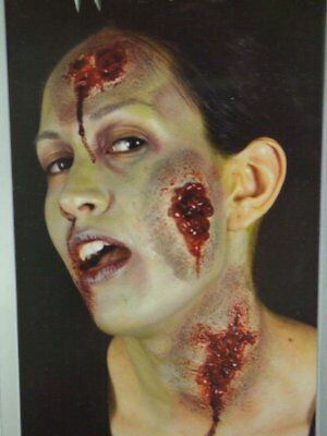 ZOMBIE PACK OOZING WOUNDS X 3 Halloween Face Make Up Fancy Dress Wound Scar ILFD