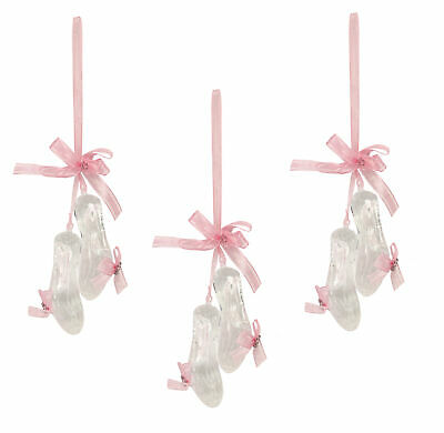 3 x Gisela Graham Pretty Ballet Shoe Christmas Decorations with Pink Ribbon 15cm