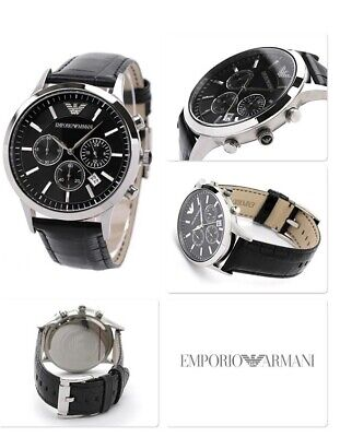 New Genuine Emporio Armani Ar2447 Black Dial Leather Strap Mens Watch £259 Rrp