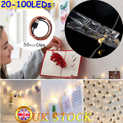20/50 Photo Pegs with LED String Light Wedding Hanging Picture Clips Lamp Decor