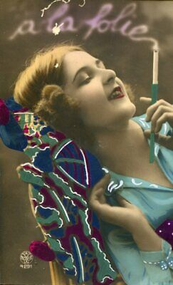 Smoking Beauty Outstanding Art Deco Colored Hand-Painted Real Photo Pc Ii