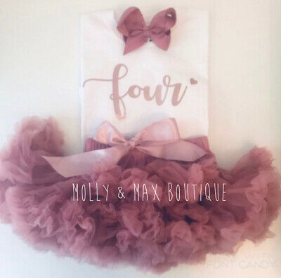 Kids Girls Fourth 4th Birthday Outfit Tutu Skirt T-Shirt Party Top Rose Gold Bow