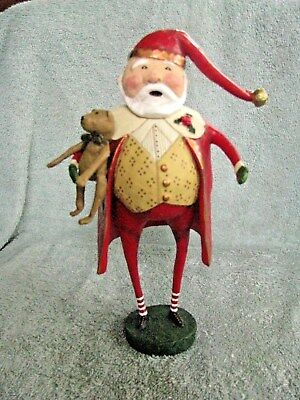 "Lori Mitchell Christmas Cheer Santa Figure w/ Teddy Bear 9"" NEW"