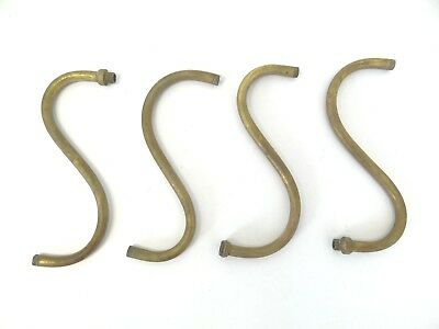 Set of Used S Shaped Curved Metal Brass Gas Light Fixture Arms Small Parts Old