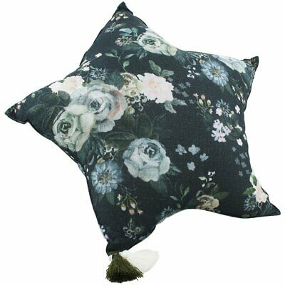 NEW CHILDRENS Muslin Star Pillow Large - Dark Peonies