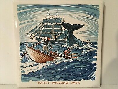 Screencraft Early Whaling Days Tile Trivet Vtg Ocean Nautical Ship Boat 6""
